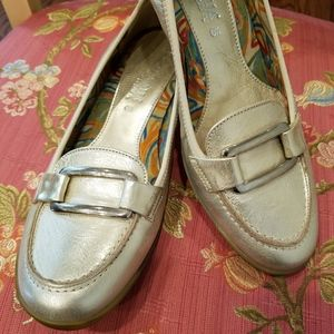 AQUATALIA  Silvery Gold Loafers - size 6 1/2